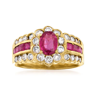C. 1980 Vintage 1.40 ct. t.w. Ruby and .78 ct. t.w. Diamond Ring in 18kt Yellow Gold