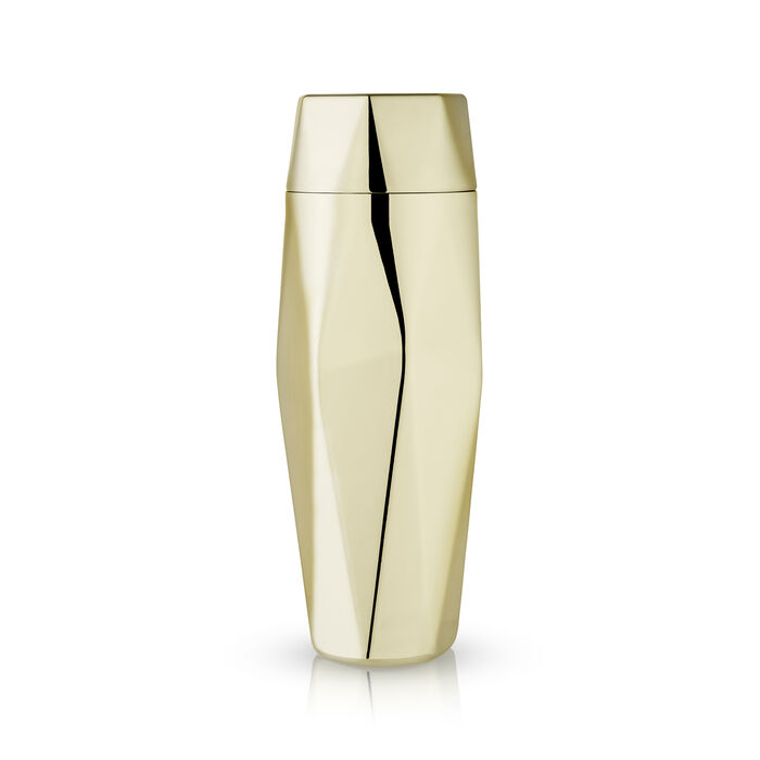 Apex Faceted Goldtone Stainless Steel Cocktail Shaker