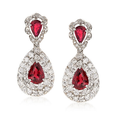 3.50 ct. t.w. Ruby and 1.91 ct. t.w. Diamond Drop Earrings in 18kt White Gold, , default