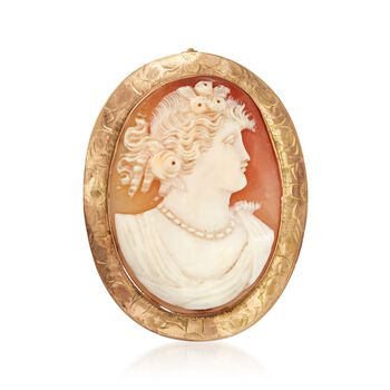 C. 1950 Vintage 43x33mm Shell Cameo Pin Pendant in 10kt Yellow Gold, , default