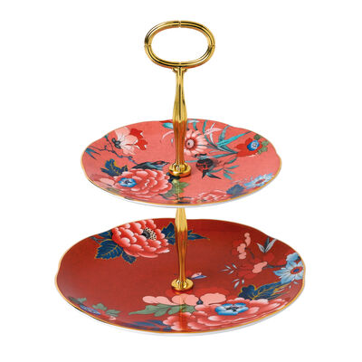 """Wedgwood """"Paeonia Blush"""" Two-Tier Cake Stand, , default"""