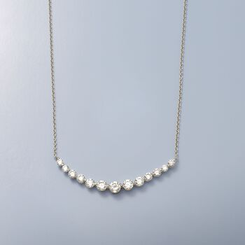 "2.70 ct. t.w. CZ Curved Bar Necklace in Sterling Silver. 16"", , default"