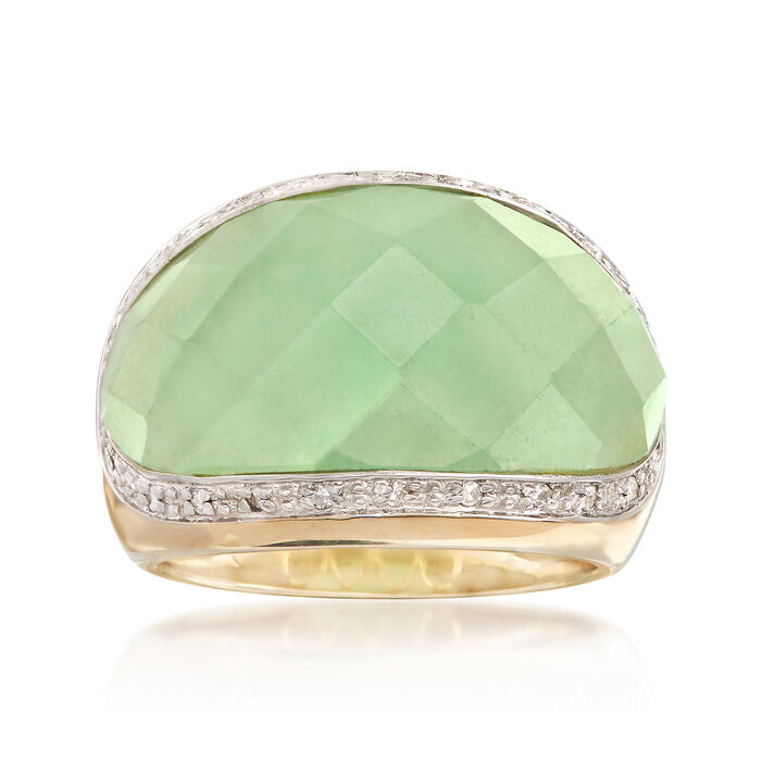Green Jade and .11 ct. t.w. Diamond Ring in 14kt Yellow Gold