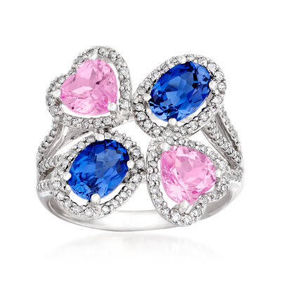 C. 1980 Vintage 4.00 ct. t.w. Pink and Blue Synthetic Sapphire and .40 ct. t.w. Diamond Cluster Ring in 14kt White Gold, , default