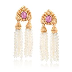 C. 1980 Vintage 2.00 ct. t.w. Pink Tourmaline and Cultured Pearl Clip-On Tassel Earrings in 14kt Yellow Gold, , default