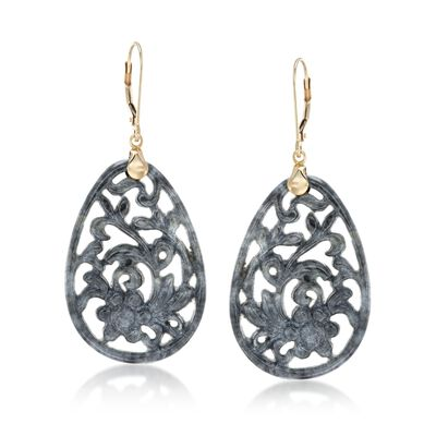 Carved Gray Jade Floral Drop Earrings With 14kt Yellow Gold, , default