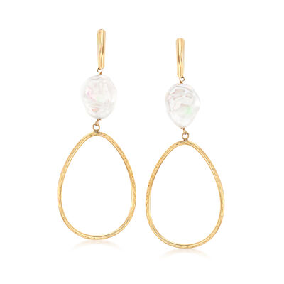 11-12mm Cultured Pearl Oval Drop Earrings in 14kt Yellow Gold, , default