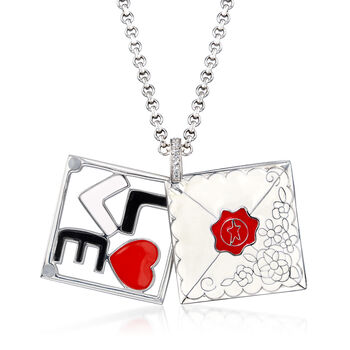 """Belle Etoile """"Love Letter"""" White Enamel Pendant with CZ Accents in Sterling Silver, , default"""