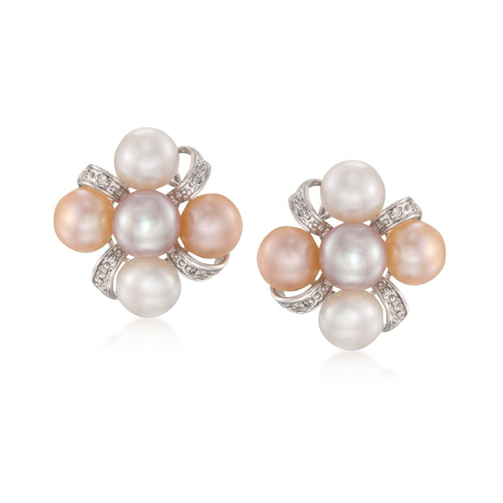7 5mm Multicolored Cultured Pearl Earrings With Diamonds In Sterling Silver Default