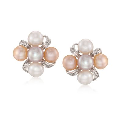 7-7.5mm Multicolored Cultured Pearl Earrings with Diamonds in Sterling Silver, , default