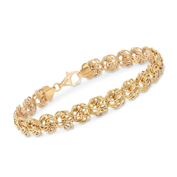 "18kt Yellow Gold Rosette Link Bracelet. 8"", , default"