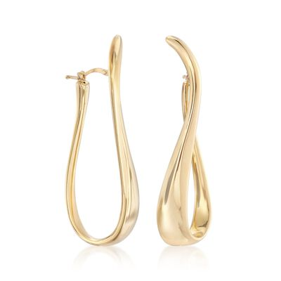 Italian 18kt Gold Over Sterling Silver Twisted Hoop Earrings