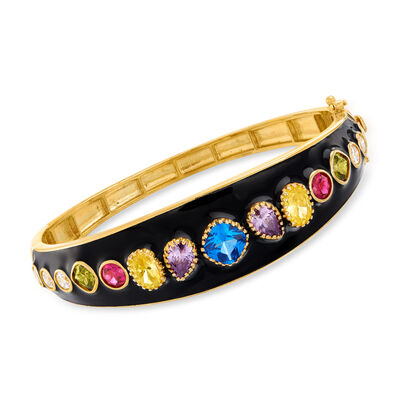 8.62 ct. t.w. Multicolored CZ and 1.50 ct. t.w. Simulated Ruby Bangle Bracelet with Black Enamel in 18kt Gold Over Sterling