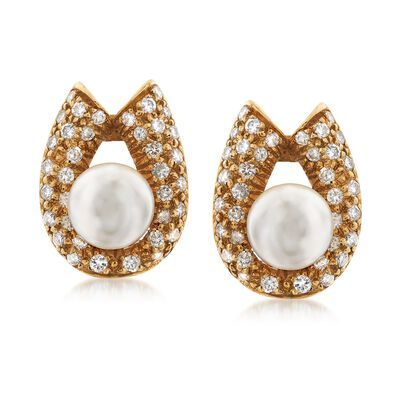 C. 1970 Vintage 2mm Cultured Pearl and 1.30 ct. t.w. Diamond Horseshoe Clip-On Earrings in 14kt Yellow Gold, , default