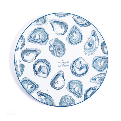 """The World is Your Oyster"" Blue and White Iron Tray , , default"