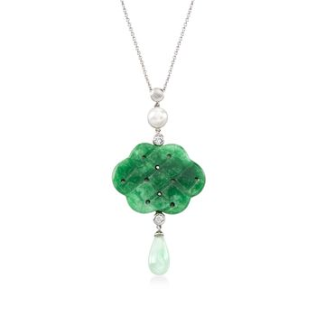 "7.5-8mm Cultured Pearl and Carved Jade Pendant Necklace With White Topaz Accents in Sterling. 18"", , default"