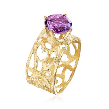 1.50 Carat Amethyst Solitaire Ring in 18kt Gold Over Sterling