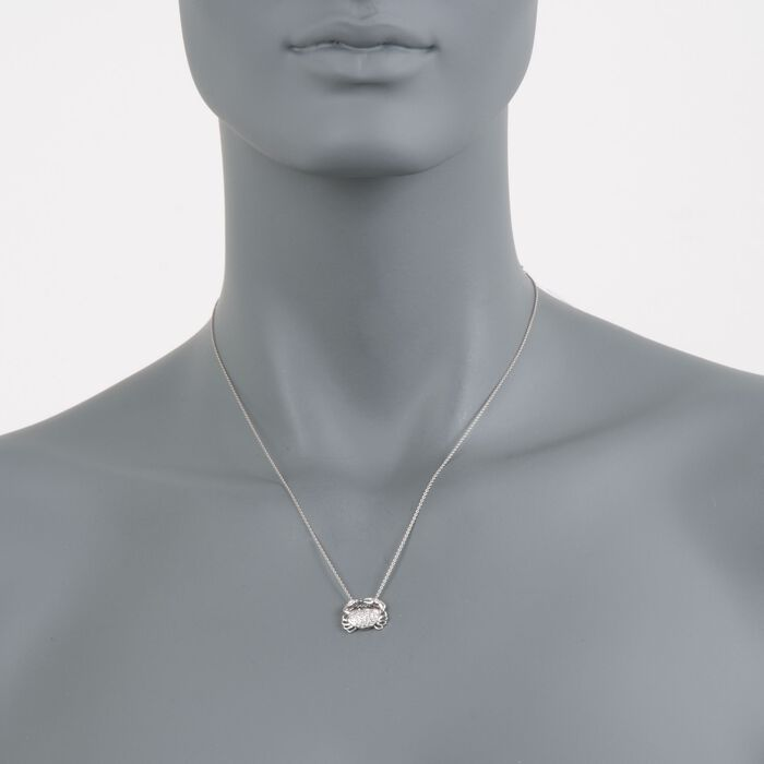 "Roberto Coin ""Tiny Treasures"" .19 ct. t.w. Crab Diamond Necklace in 18kt White Gold. 16"""