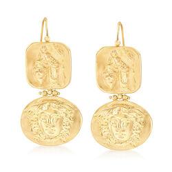 Italian Tagliamonte Tribute to Medusa Drop Earrings in 18kt Gold Over Sterling, , default