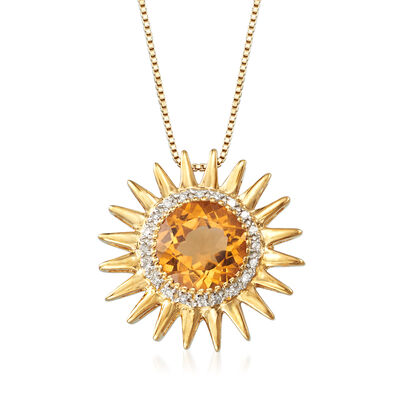 2.00 Carat Citrine and .10 ct. t.w. Diamond Sun Pendant Necklace in 18kt Gold Over Sterling, , default