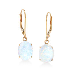 Simulated Opal Drop Earrings in 14kt Yellow Gold, , default