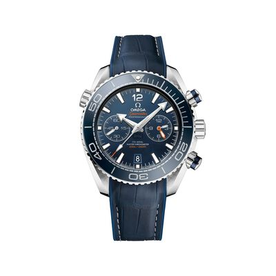Omega Seamaster Planet Ocean Men's 45.5mm Auto Chronograph Stainless Steel Watch With Blue Leather , , default