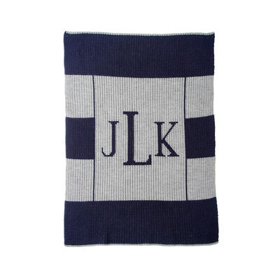 Child's Butterscotch Blankees Personalized Multi-Stripe Monogram Blanket, , default