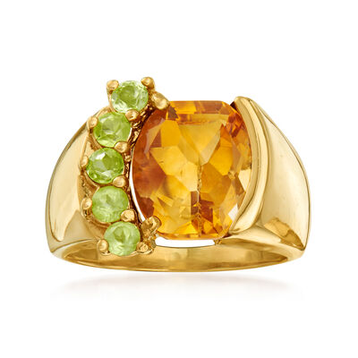 C. 1980 Vintage 4.65 Carat Citrine and .55 ct. t.w. Peridot Ring in 10kt Yellow Gold