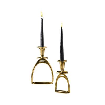 Set of 2 Antique Gold Stirrup Tapered Candleholders, , default