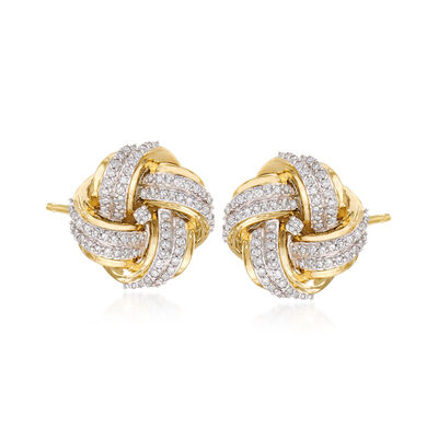 .50 ct. t.w. Diamond Love Knot Stud Earrings in 14kt Yellow Gold, , default