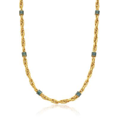 C. 1990 Vintage Green Enamel Station Necklace in 18kt Yellow Gold, , default