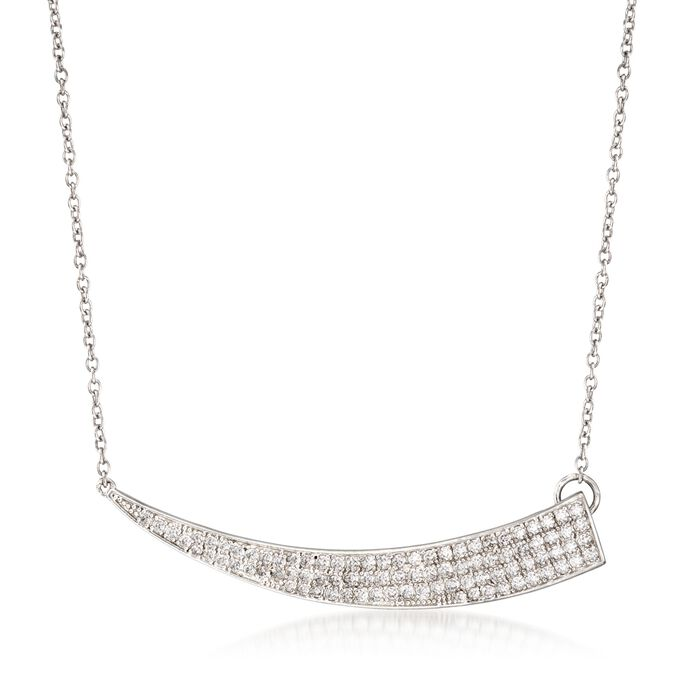 """.85 ct. t.w. CZ Horn Necklace in Sterling Silver. 16"""", , default"""