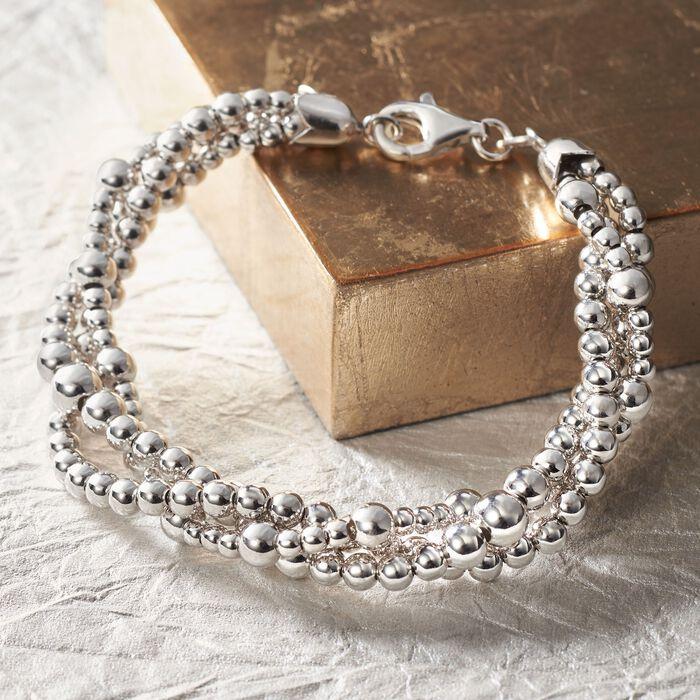 Italian Sterling Silver Twisted Multi-Bead Bracelet
