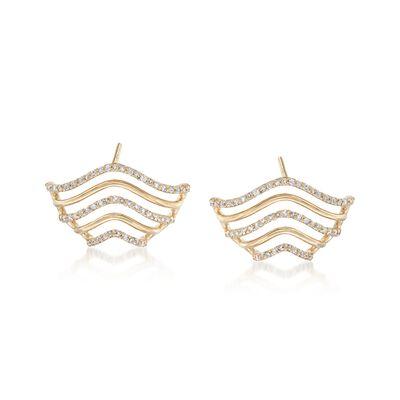 .42 ct. t.w. Diamond Wavy Drop Earrings in 14kt Yellow Gold, , default