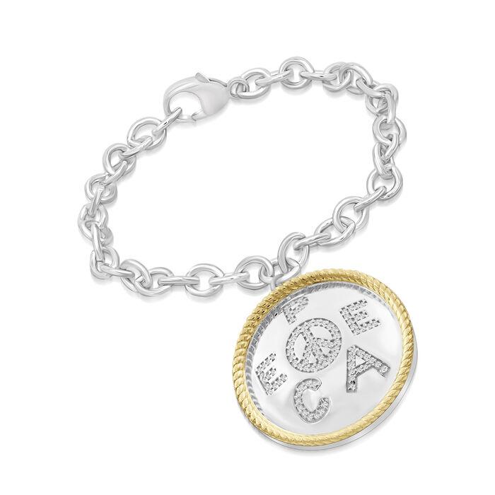 ".25 ct. t.w. Diamond ""Peace"" Charm Bracelet in Two-Tone Sterling. 7.5"", , default"