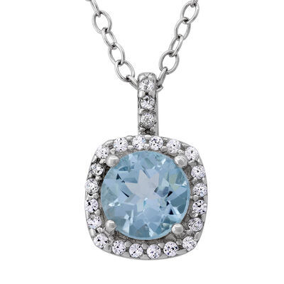 1.00 Carat Sky Blue Topaz and .11 ct. t.w. CZ Halo Pendant Necklace in Sterling Silver, , default