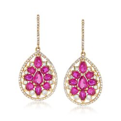 4.40 ct. t.w. Ruby and .76 ct. t.w. Diamond Teardrop Earrings in 14kt Yellow Gold , , default