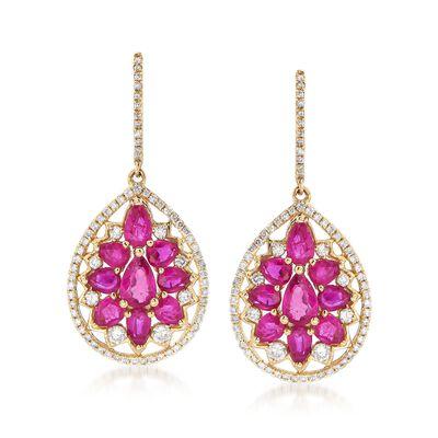 4.40 ct. t.w. Ruby and .76 ct. t.w. Diamond Teardrop Earrings in 14kt Yellow Gold, , default