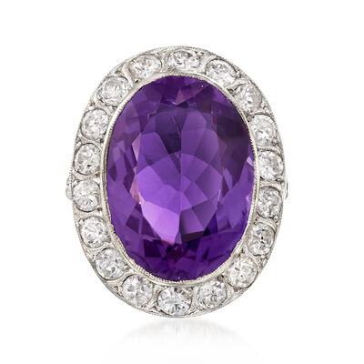 C. 1950 Vintage 10.00 Carat Amethyst and 1.55 ct. t.w. Diamond Ring in Platinum, , default