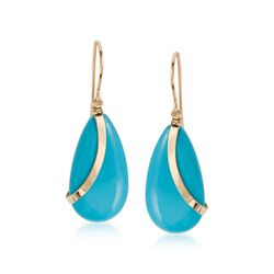 Turquoise Teardrop Earrings in 14kt Yellow Gold , , default