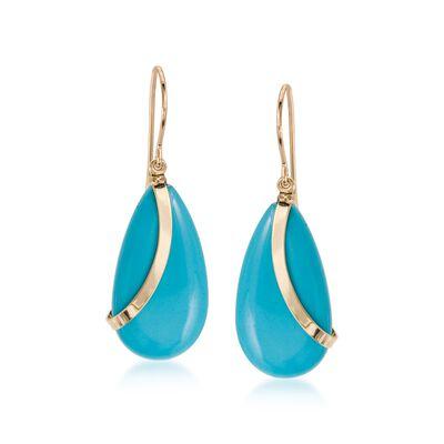 Turquoise Teardrop Earrings in 14kt Yellow Gold, , default