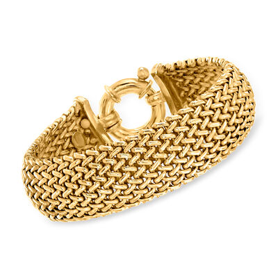 Italian 22kt Gold Over Sterling Silver Riso Bracelet, , default