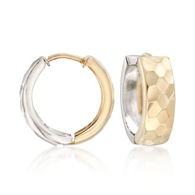14kt Two-Tone Gold Diamond-Cut Hoop Earrings, , default