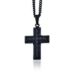 "Men's Black Stainless Steel and Blue Carbon Fiber Inlay Cross Necklace. 24"", , default"