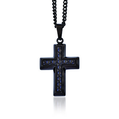 Men's Black Stainless Steel and Blue Carbon Fiber Inlay Cross Necklace, , default