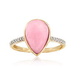 Pink Opal and .10 ct. t.w. Diamond Ring in 14kt Yellow Gold, , default