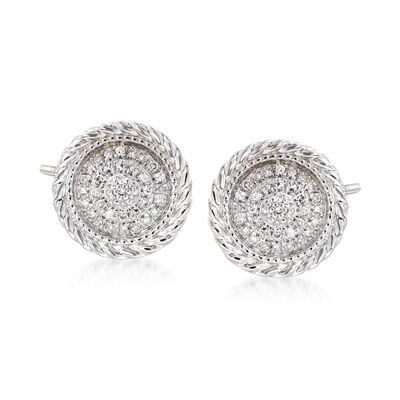 .10 ct. t.w. Diamond Earrings in 14kt White Gold, , default