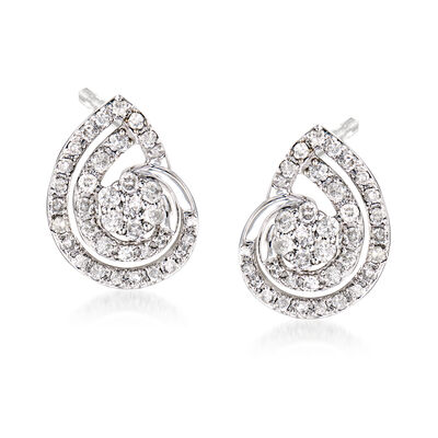 .50 ct. t.w. Diamond Seashell Earrings in Sterling Silver