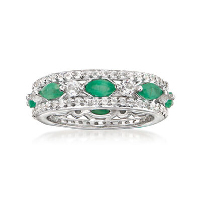 1.39 ct. t.w. White Topaz and 1.31 ct. t.w. Emerald Eternity Band in Sterling Silver