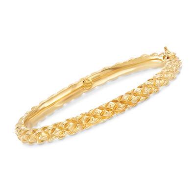 Italian 18kt Yellow Gold Spiked Bangle Bracelet, , default